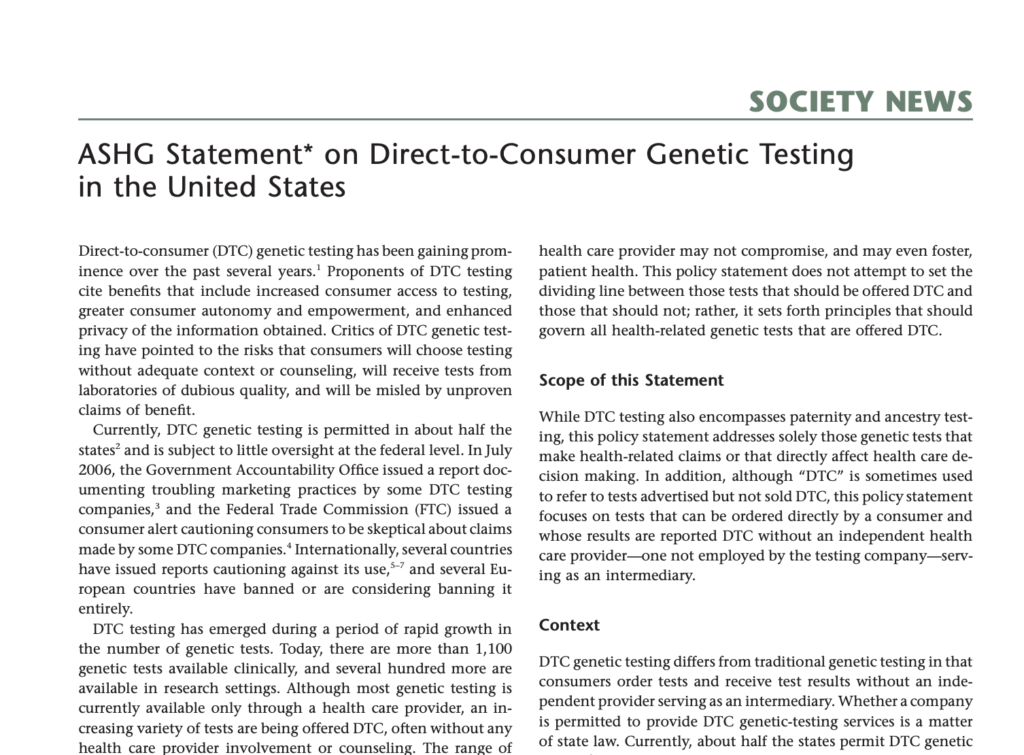 ASHG Statement* on Direct-to-Consumer Genetic Testing in the United States